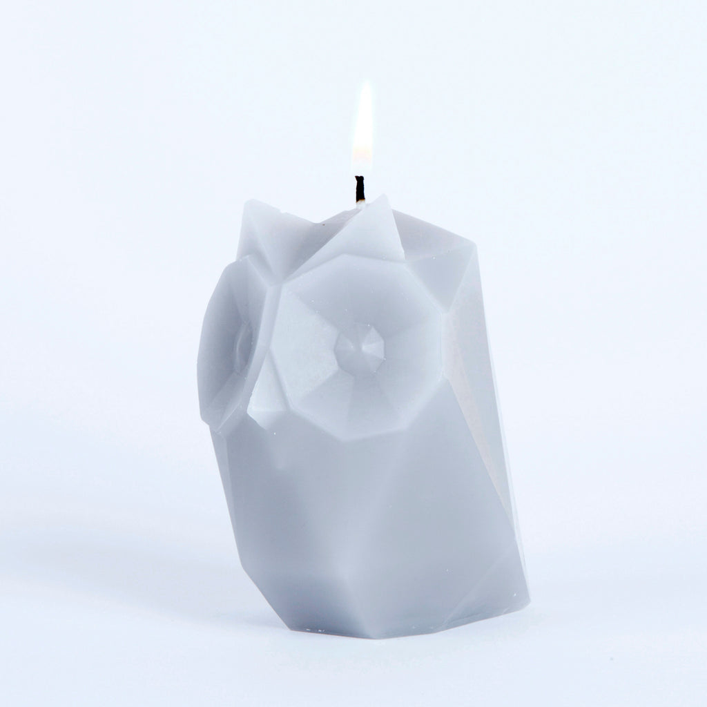 pyropet ugla owl grey skeleton candle