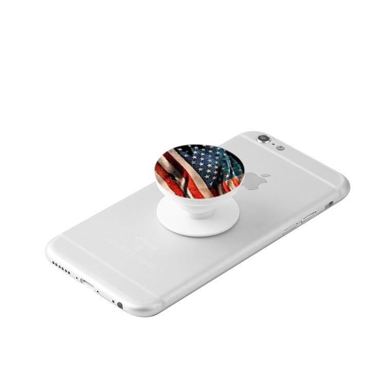 White Collapsible Grip & Stand for Phones and Tablets american flag