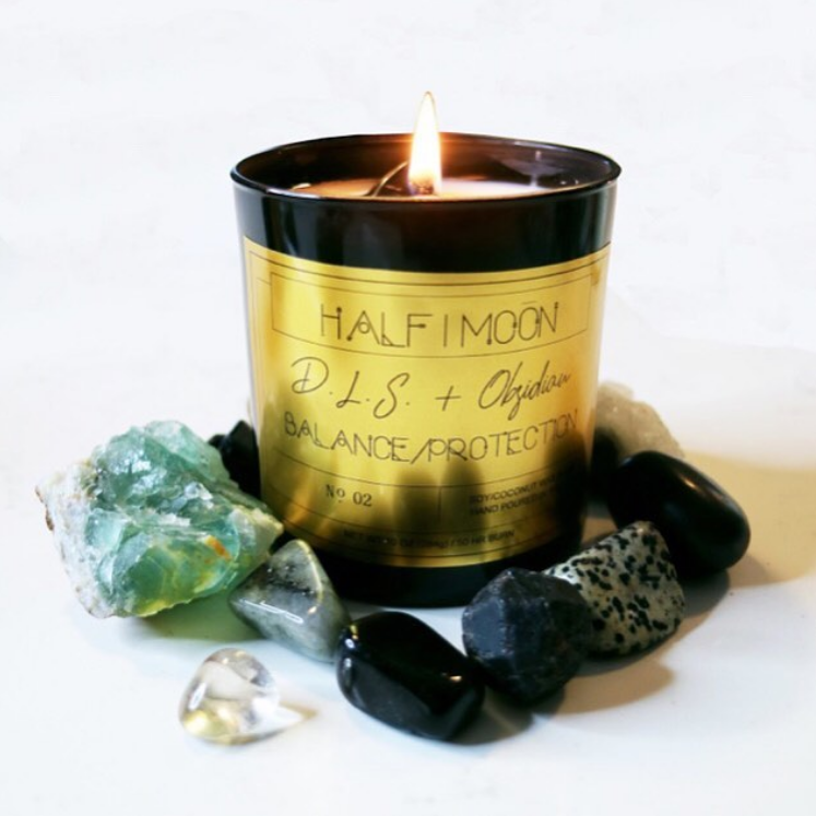D.L.S. and Obsidian Crystal Candle (Balance and Protection) Halfmoon Candle Company