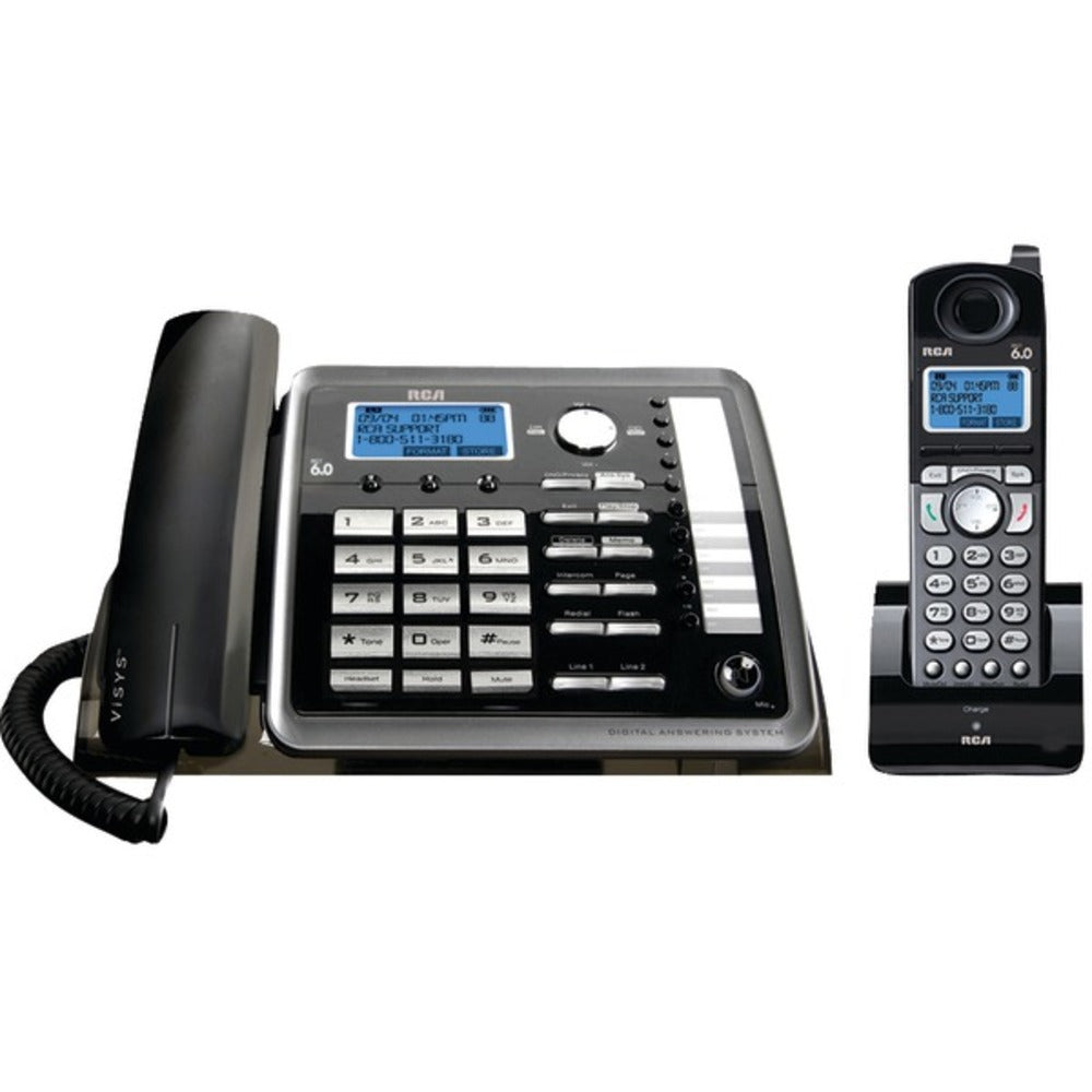 RCA(R) 25255RE2 DECT 6.0 2-Line Corded/Cordless Expandable Phone with