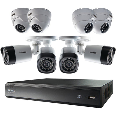 LOREX LHV00161TC8PM 16-Channel Mpx HD DVR with 1TB & 8 720p Cameras, 4 Bullet/Dome