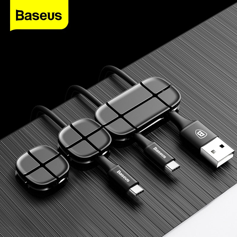 Baseus Cable Organizer Flexible Silicone USB Cable Winder Wire Cord Management Cable Clip Holder For Mouse Headphone Earphone