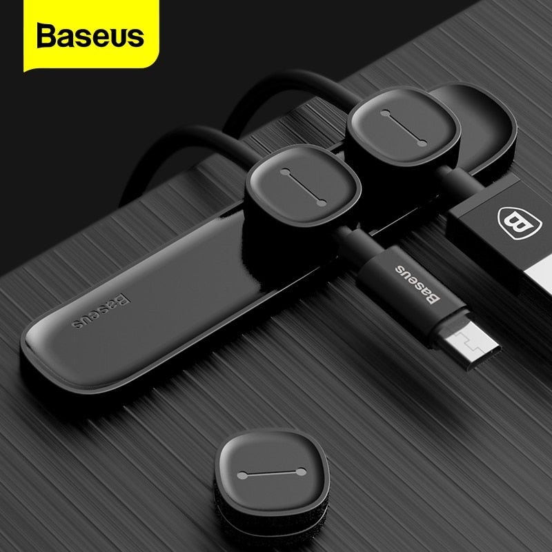Baseus Magnetic Cable Organizer USB Cable Winder Management Desktop Clips Wire Cord Protector Cables Holder For Mouse Earphone