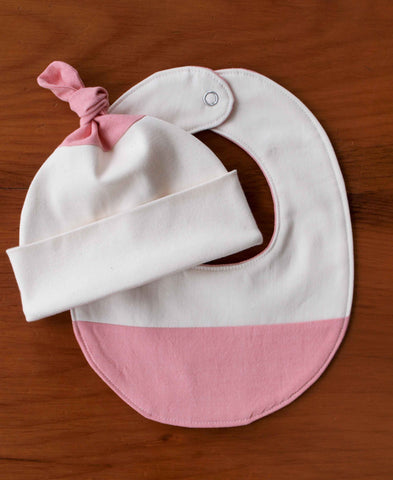 Pink and Ivory Baby Hat and Bib Set