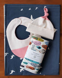Pink Baby Cap and Bib with Burp Cloths and Blanket