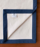 Navy and Cream Flannel Swaddling Blanket