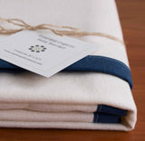 Ivory Flannel Receiving Blanket with Navy