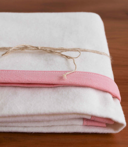 Pink and Ivory Flannel Swaddling Blanket