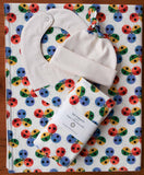 Rainbow Ladybugs Receiving Blanket, Hat, Bib, Burp Cloths