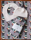 Gray, Aqua, Red, Black Modern Bird Baby Blanket, Burp Cloths, Hat, Bib