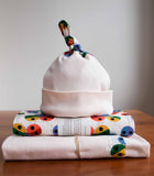 Colourful Rainbow Ladybug Flannel Blanket, Burp Cloths, Hat