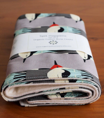 Modern Birds Burp Cloth Set for Newborn Baby