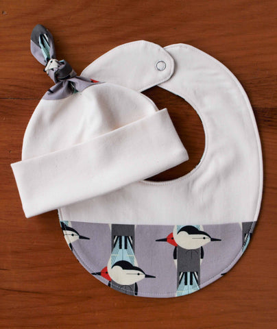 Modern Birds Hat and Bib Set for Baby Boy or Girl
