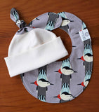 Grey Birds Hat and Bib Set for Newborn Baby
