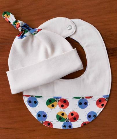 Rainbow Ladybugs Baby Cap and Drool Bib Gift Set