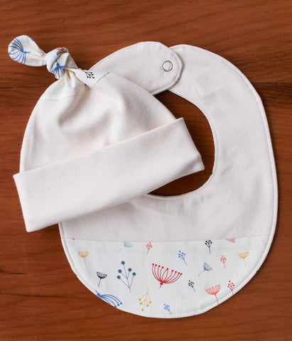 Rainbow Twigs Baby Hat and Bib Gift Set