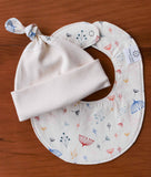 Pretty Floral Baby Hat and Bib Set, Charley Harper Twigs