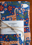 Blue Animal Print Baby Blanket and Set of 2 Burp Cloths