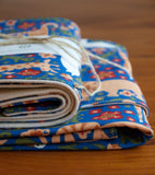 Blue Baby Blanket and Burp Cloths with Lions, Tigers, Giraffes