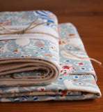 Blue Baby Blanket and Burp Cloth Gift Set; Enchanted Menagerie