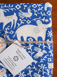 Organic Cotton Receiving Blanket in Blue and Ivory
