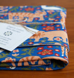 Bright Blue Baby Blanket with Tigers, Lions, Giraffes
