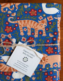 Blue Baby Blanket with Orange, Red, White Animals