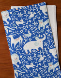 Blue Burp Cloths with Elephants; Hidden Flower Field