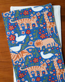Blue Floral Burp Cloths with Lions, Tigers, Giraffes