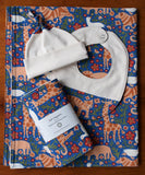 Blue Baby Blanket, Hat, Bib, Burp Cloths in Royal Menagerie
