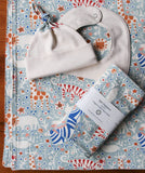 Blue Baby Blanket, Hat, Bib, Burp Cloths in Enchanted Menagerie