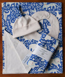 Blue and Ivory Baby Blanket, Hat, Bib, Burp Cloths, Hidden Flower Field
