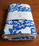 Handmade Organic Cotton Burp Cloths in Blue with Ivory Animals