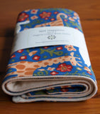 Blue Burp Cloths with Colorful Animals, Royal Menagerie