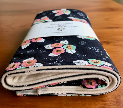 Pink, Aqua, Black & White Floral Organic Cotton Burp Cloth Set of Two, Monsoon Bloom