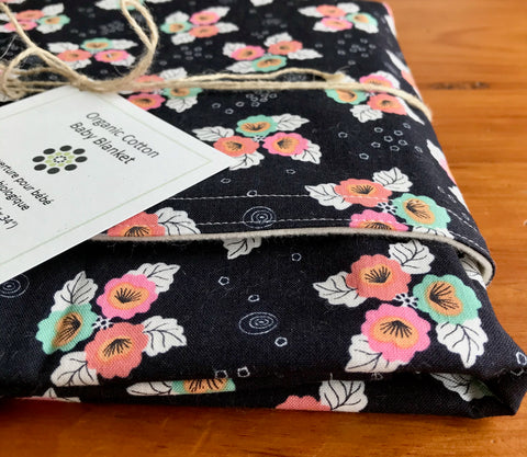 Pink, Aqua, White & Black Floral Organic Cotton Baby Blanket, Monsoon Bloom