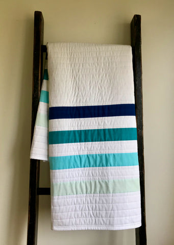 Modern, Blue and White Stripe Baby Quilt, IN STOCK