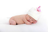 Black and Ivory Newborn Baby Knot Hat, Enchanted Unicorns