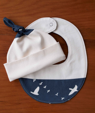 Navy and Cream Birds in Flight Hat and Baby Bib