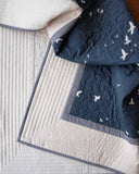Navy Blue and Cream Organic Cotton Quilt