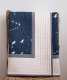 Cream, Grey, Blue Toddler Quilt