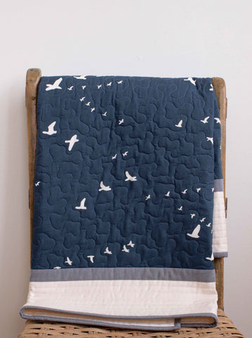 Modern Navy Blue, Cream and Grey Baby Quilt