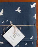Navy Blue Bird Baby Blanket