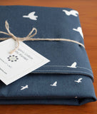 Navy Blue Baby Blanket, Modern Birds in Flight