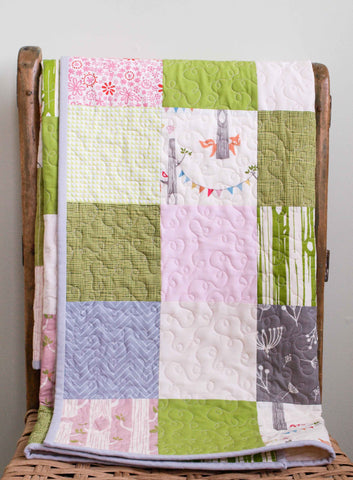 Woodland Patchwork Organic Baby Quilt in Pink, Grey and Green