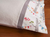 Ivory Flannel Pillowcase with Woodland Party and Pewter Trim