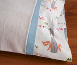 Ivory Flannel Pillowcase with Woodland Party and Sky Trim