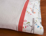 Ivory Flannel Pillowcase with Woodland Party and Coral Trim