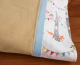 Dijon Flannel Pillowcase with Woodland Party and Sky Trim