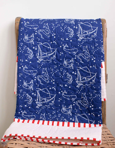 Organic Baby Crib Quilt, Starry Night